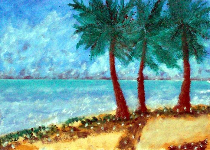 Palmen am Strand,, Mischtechnikmalerei, Meer, Strand, Palmen, Bäume, Himmel, Blumen, Gras, Sand, Seascape, Ölfarbe, Pastellkreide, Mischtechnikgemälde