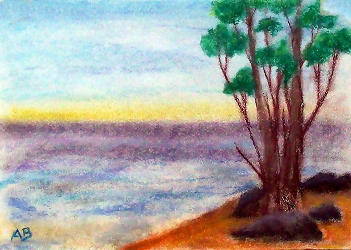 Meerlandschaft, Pastellmalerei, Sonnenuntergang, Meer, Wellen, Himmel, Küste, Strand, Bäume, Landschaftsbild, Pastellgemälde, Pastellbild