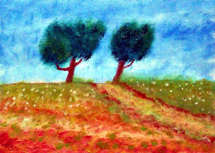 Der Pfad, Ölgemälde, Berglandschaft, Hügel, Weg, Wiese, Bäume, Blumen, Landschaftsbild, Ölmalerei, Ölbild