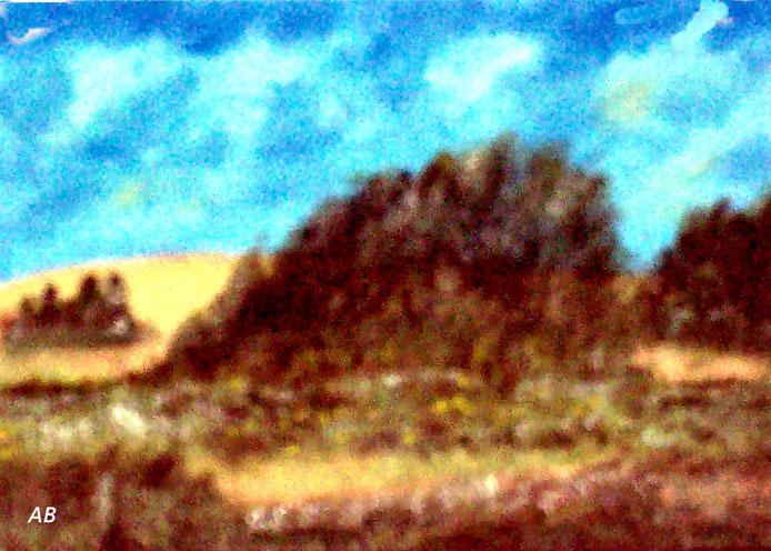 Felder und Wiesen, Ölgemälde, Bäume, Wald, Wiese, Gras, Feld, Blumen, Büsche, Landschaftsbild, Ölmalerei, Ölbild