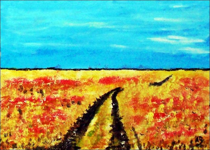 Sommerfeld, Ölgemälde, Bäume, Weizen, Landschaftsbild, Feld, Weg, Sommer, Natur, Ölmalerei, Ölbild, Landschaft