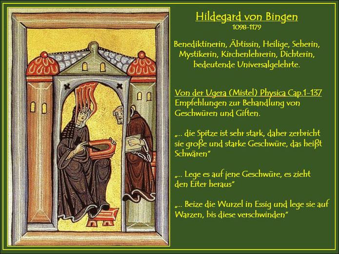 Die heilige Hildegard empfängt  Visionen, notiert diese und reicht sie einem Mönch zur Niederschrift weiter.