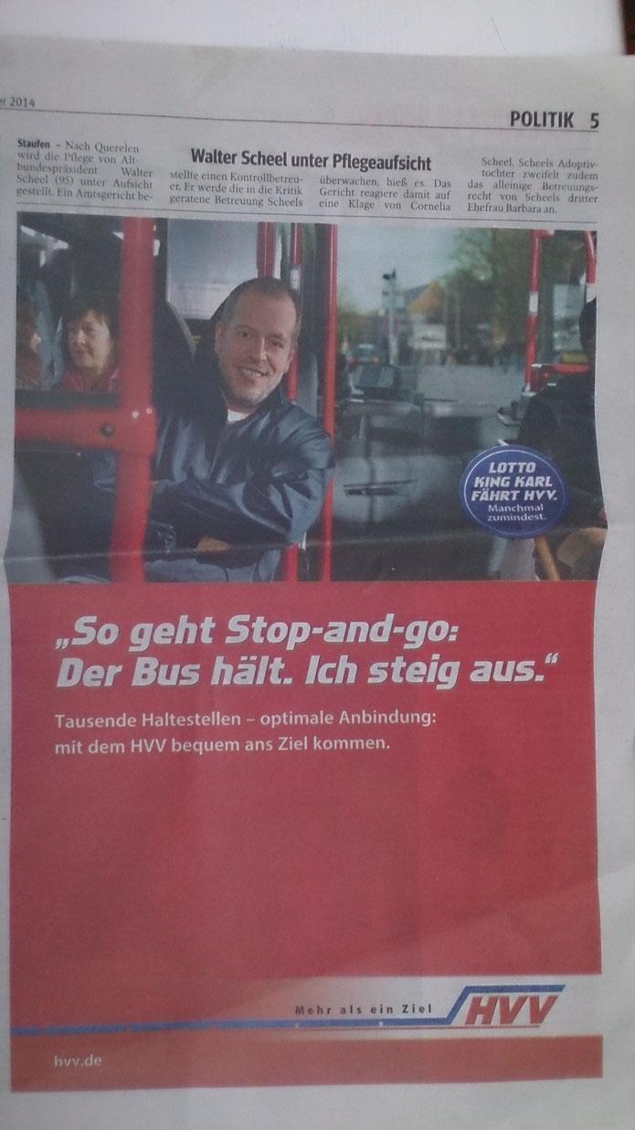 """Und Bus fährt Herr Lotto auch nur """"manchmal zumindest""""."""