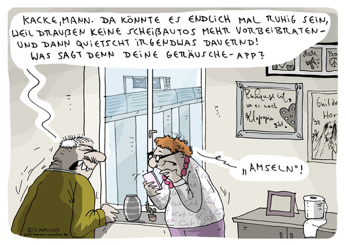 Cartoon zur coronabedingten Stille in den Städten.