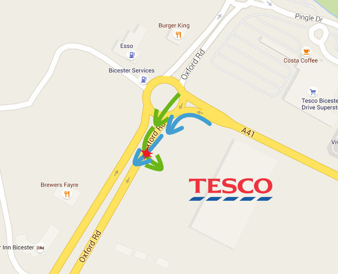 Potentially dangerous traffic flows to the new Tesco store at Bicester