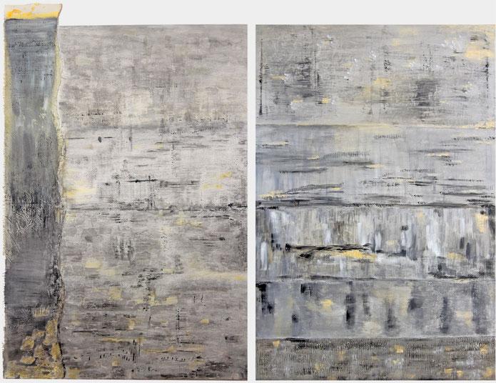 ohne Titel   2017   Acryl auf Leinwand    je 160 x 110 cm