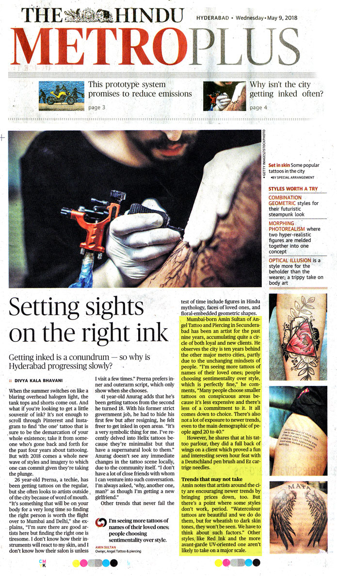 The hindu newspaper article , dated 09.05.18, angel tattooz interview amin sultan
