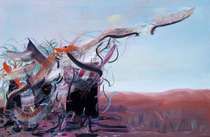 border, 2020, mixed media on canvas, 65 x 100 cm
