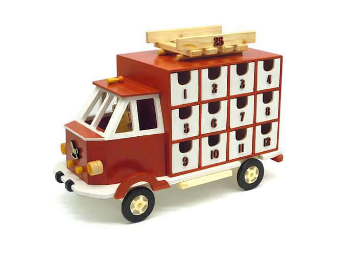 Camion calendario dell'avvento in legno