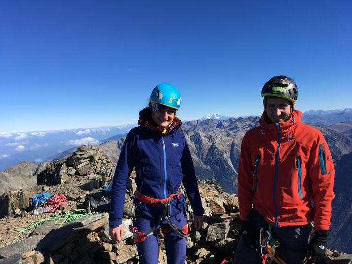 Lise et Baptiste au sommet du Grand pic de Belledonne