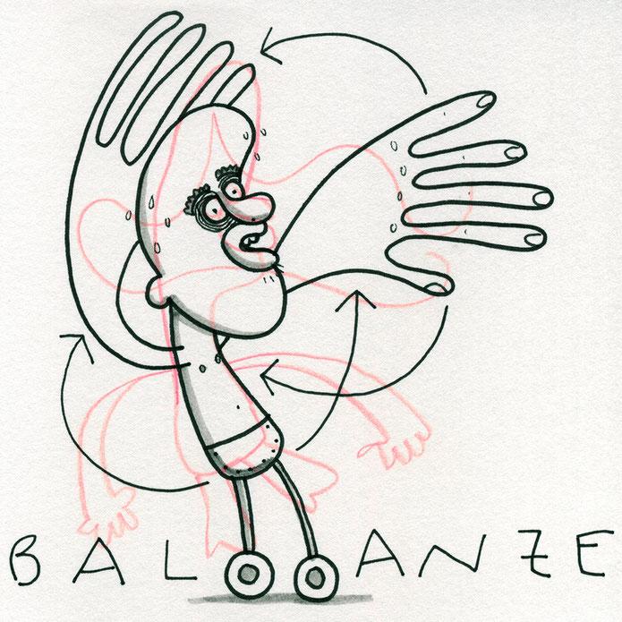 Zeichnung von Frank Schulz zeigt einen Mann auf Rädern der die Ballance verliert