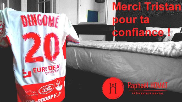 Tristan Dingomé, Dingome, stade de Reims, Ligue 1, footballeur, footballeur professionnel, performance, Ligue 1 conforama, mental, préparation mentale, raphael homat