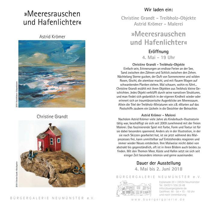 www.astrid-kroemer-malerei.de, Austellung in der Bürgergalerie Neumünster am Freitag, den 4. Mai um 19 Uhr