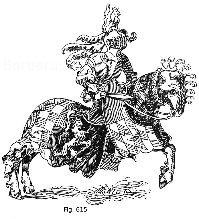 Fig. 615. Herzog Georg von Bayern-Landshut auf dem Kolbenturnier zu Heidelberg am 18. August 1482. Aus Hans Burgkmayrs Turnierbuch. Aquarell von ca. 1554. Im Besitz des Fürsten von Hohenzollern-Sigmaringen. Nach Hefner.