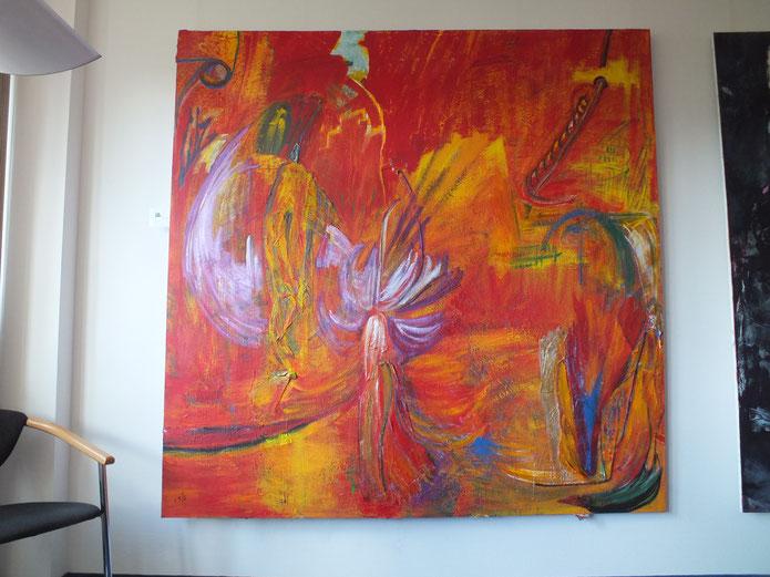 irdenes blick nach fantasia, Acryl auf Leinwand mit Materialmnix, 200 x 200