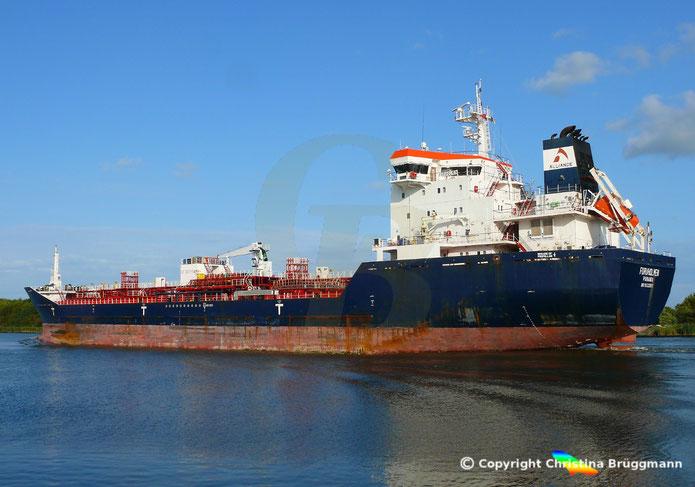 Chemie- /Öltanker FUREUHOLMEN, Nord-Ostsee Kanal 30.08.2018