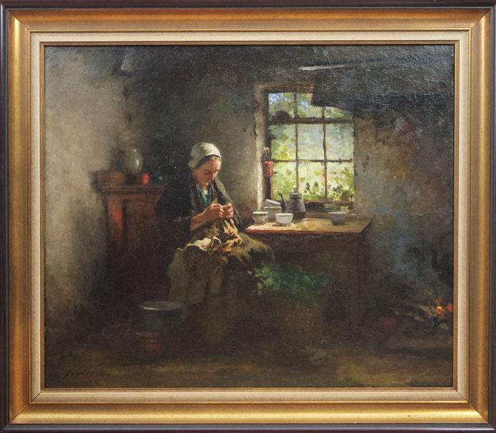 te_koop_aangeboden_een_interieur_schilderij_van_de_nederlandse_kunstschilder_johannes_weiland_1856-1909_verwant_aan_de_larense_school