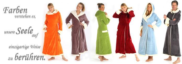 Schöne warme lange Bademäntel im außergwöhnlichem Design zum Wohlfühlen wie nie zuvor. Der Damen und Herrenbademantel für Sauna, Wellness und SPA in verschiedene Farben V O N N E S L H O
