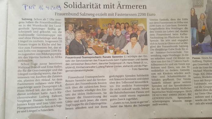 Ein großes Dankeschön an den Frauenbund Salzweg, der aus den Erlösen vom Fastenessen 2019 insgesamt 2.200,00 EUR für die Durchführung von Bildungsprojekten spendete!
