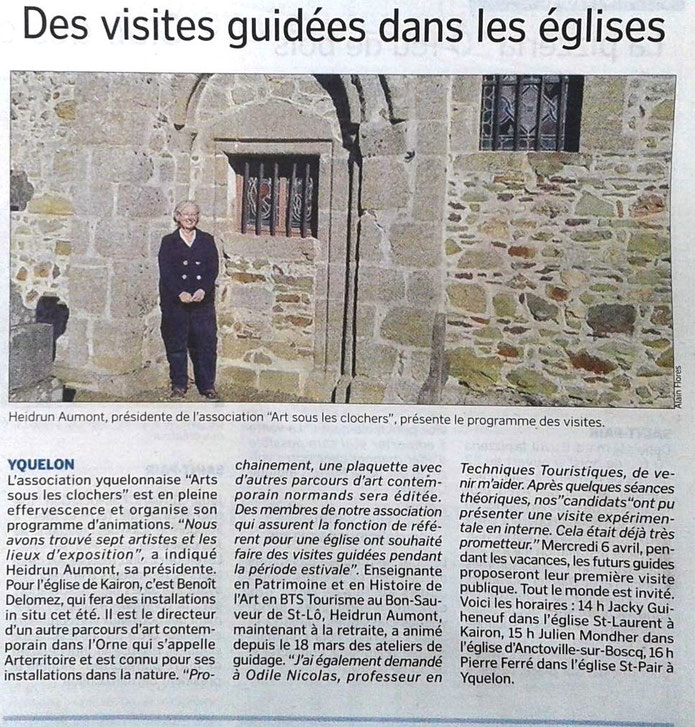 """Article """"Des visites guidées dans les églises"""", La Manche Libre, 09/04/2016"""