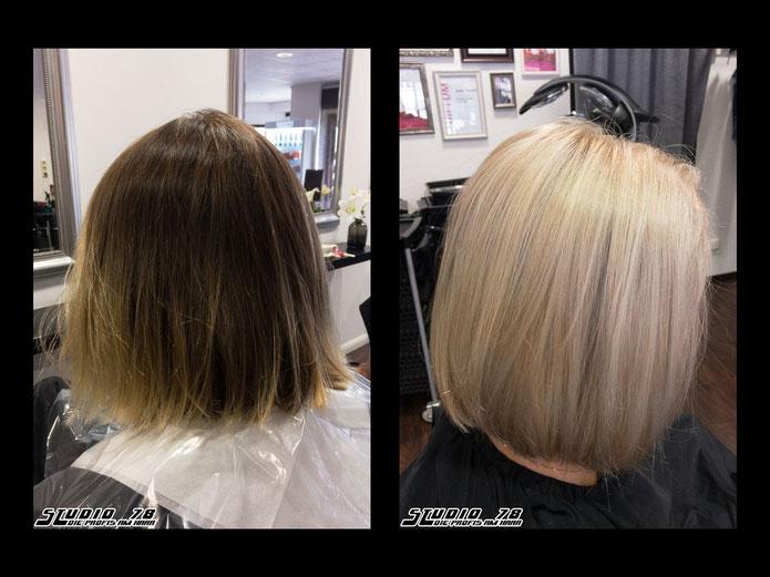 Coloration Haarfarbe Blond vorher nachher perlmutt