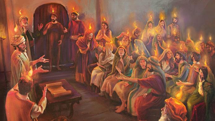 Alors que 120 disciples de Jésus sont réunis dans une maison à Jérusalem, l'esprit saint, rendu visible sous la forme de langues de feu, est distribué aux 120 disciples en même temps que le don des langues, la capacité de s'exprimer en langues inconnues.