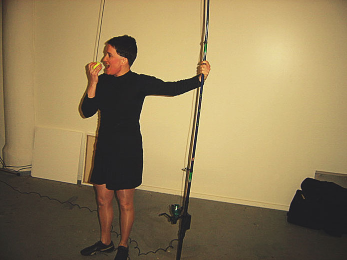 Emmett Williams FLUXUS – Fishing rod Performance – Pedro Meier – 80th birthday party Berlin 4. April 2005 – museum FLUXUS+ Potsdam – Museum Lodz. Photo by © Pedro Meier Multimedia Artist Museum Visual Art Bangkok – Visarte SIKART Zürich – DADA Switzerland