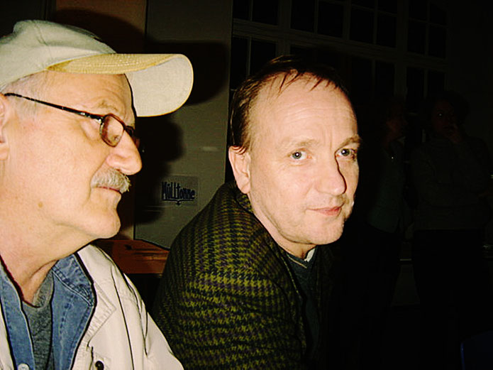 Emmett Williams FLUXUS – Pedro Meier & André Behr – 80th birthday party Berlin 4. April 2005 – museum FLUXUS+ Potsdam, Lodz. Photo »Selfie-Art-Project« by © Pedro Meier Multimedia Artist Museum Visual Bangkok.Visarte SIKART Zürich – DADA Switzerland no.7