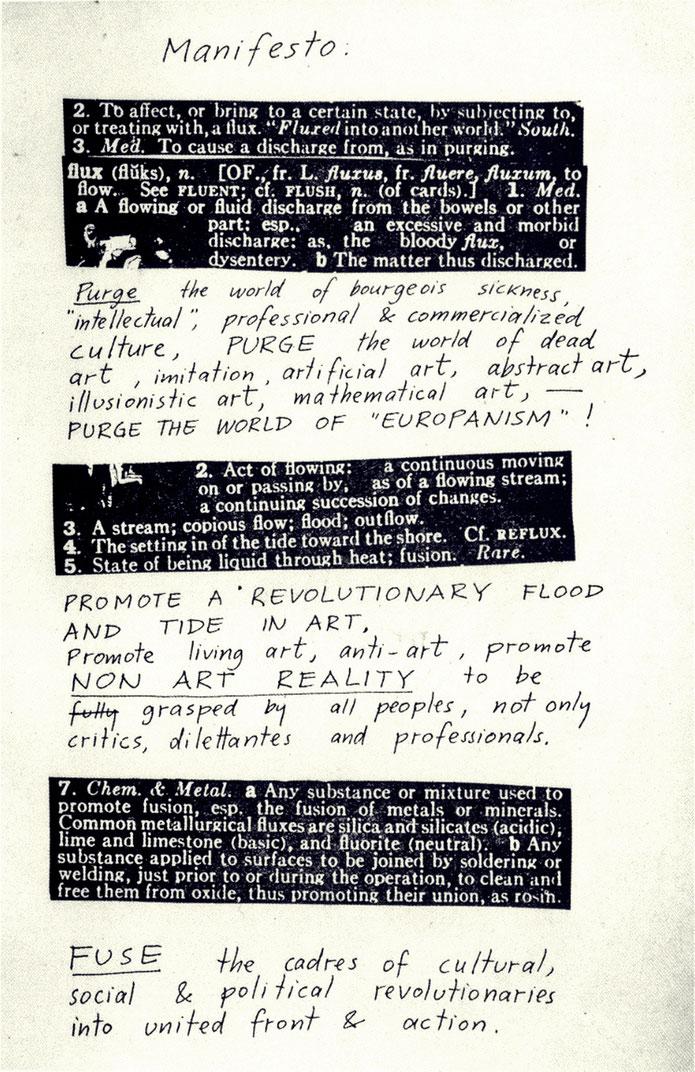Emmett Williams FLUXUS – Manifesto, Festum Fluxorum Fluxus, Düsseldorf, Februar 1963 – museum FLUXUS+ Potsdam – Kunstmuseum Lodz Polen – Archive Pedro Meier Multimedia Artist Museum Visual Art Bangkok – Visarte SIKART Zürich DADA Switzerland