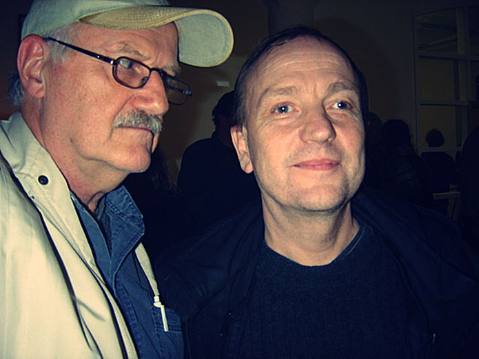 Emmett Williams FLUXUS – Pedro Meier & André Behr – 80th birthday party Berlin 4. April 2005 – museum FLUXUS+ Potsdam, Lodz. Photo »Selfie-Art-Project« by © Pedro Meier Multimedia Artist Museum Visual Art Bangkok – Visarte SIKART Zürich – DADA Switzerland