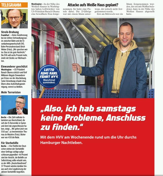 """HVV-Anzeige in der """"Hamburger Morgenpost"""": """"Manchmal zumindest"""" findet Lotto King Karl den HVV gut, meistens aber nicht."""