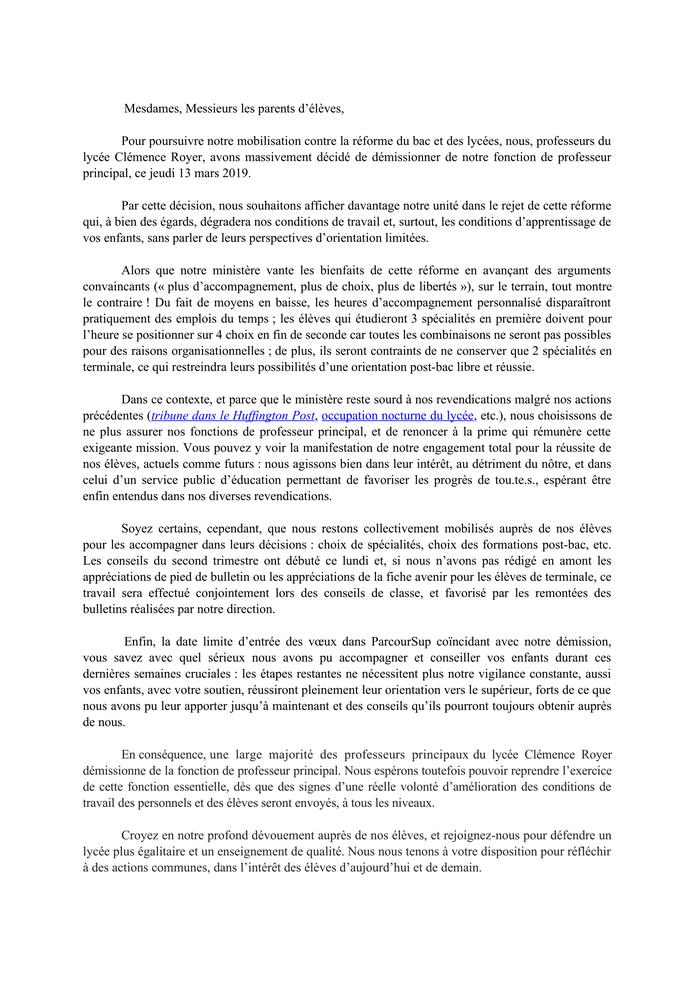Démission professeurs principaux lycée Clémence Royer de Fonsorbes