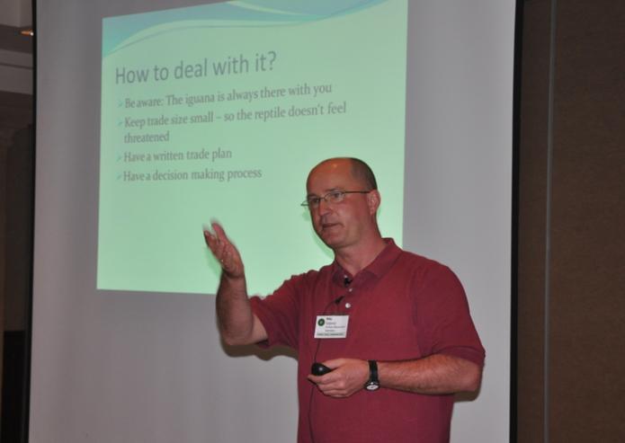 2012 in Antigua: Während meiner Präsentation über Trading mit dem Reptilienhirn.