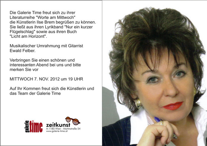Galerie Time Lesung mit Musik Ilse Brem