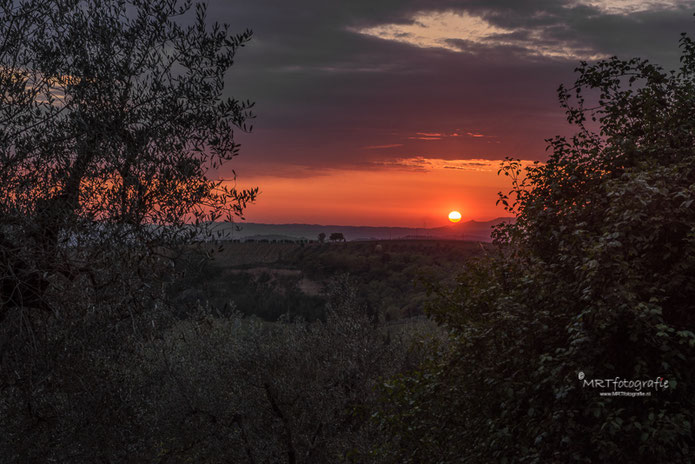 Zonsondergang, Toscane, Terrano