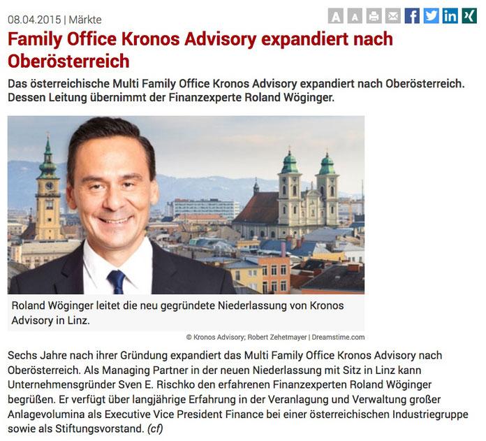 Fonds Professionell über die neu gegründete KRONOS Advisory in Linz