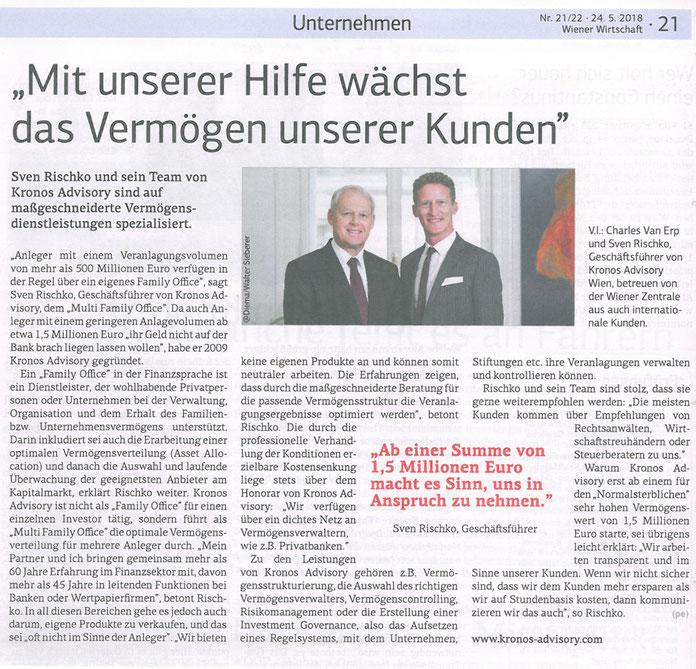 Kronos Advisory, Sven Rischko im Interview mit der Wiener Wirtschaft