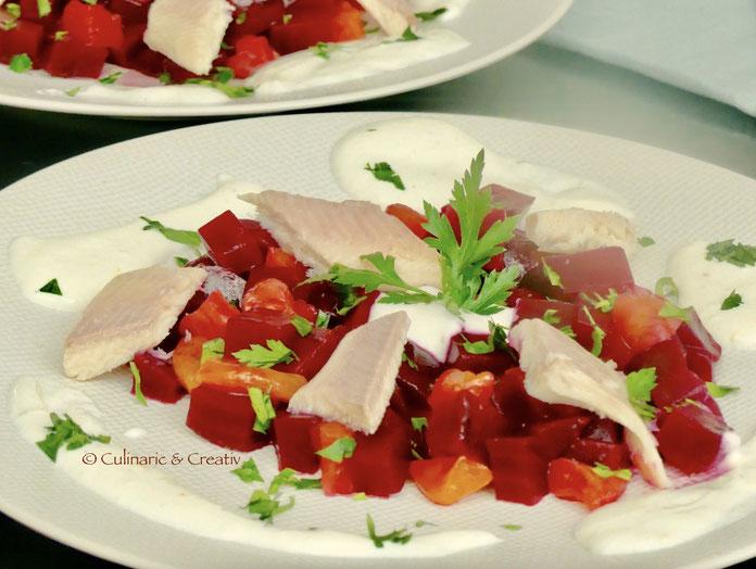 Rote-Bete-Salat mit Räucherforelle