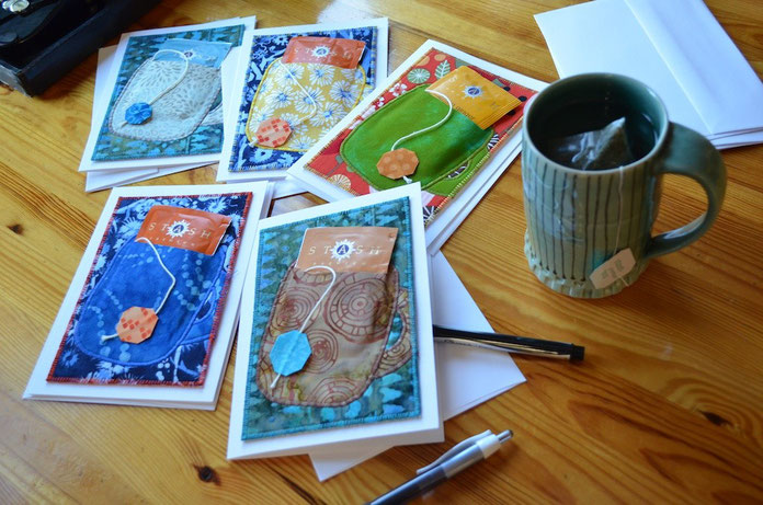"""Cuppa tea"" Fiber Art Cards"
