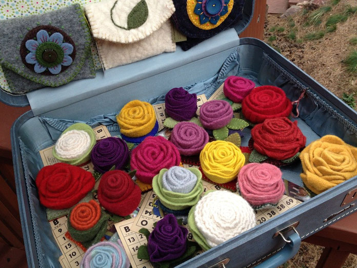 Roses made from up cycled 100% wool sweaters that have been felted, shaped, and sewn into these fun pin brooches!