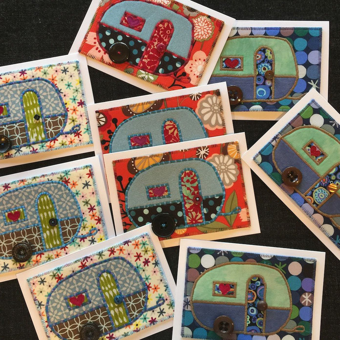New camper fiber art cards added to the on-line store!  Now we're rollin'!
