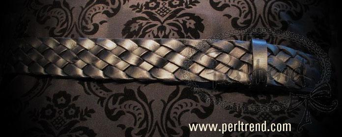 www.perltrend.com Accessoires Gürtel echt Leder schwarz Schnalle wechselbar