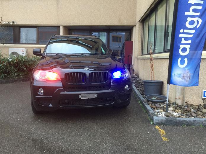 LED Angel eyes für BMW custom made H8 für BMW hier rot blau Umschaltbar mit Handy auf weiss. basel basler fcb