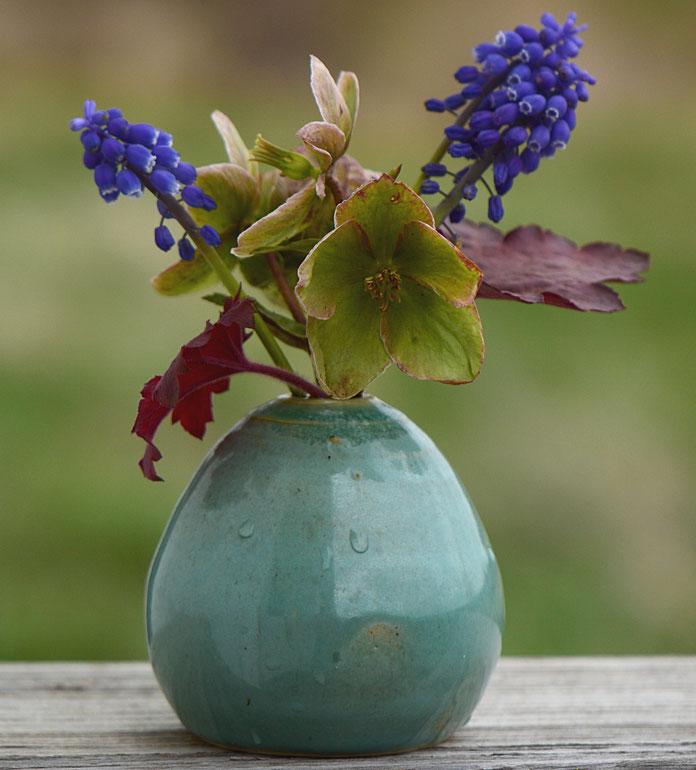 "helleborus ""Ivory Prince"", heuchera foliage and muscari for In a Vase on Monday"