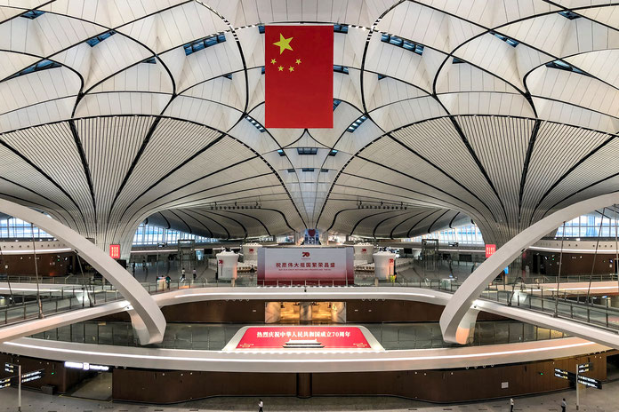 Daxing Airport. In der Immigration Hall  eröffnete President Xi Jinping den neuen Flughafen.