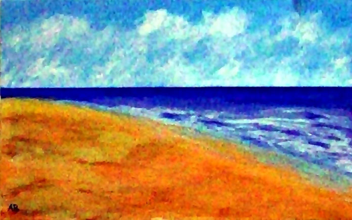 Strandlandschaft, Meerlandschaft, Mischtechnik Gemälde, Strand, Sand, Wellen, Himmel, Wolken, Landschaftsbild, Acrlmalerei, Pastellkreidemalerei
