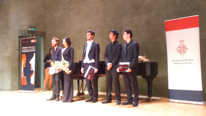 Guanyadors del 12è Concurs de Música Internacional de Les Corts (de esquerra a dreta: Duo Vallès Vera, Carles Pachón, Jorge Nava i Ruben Àngel Gutierrez