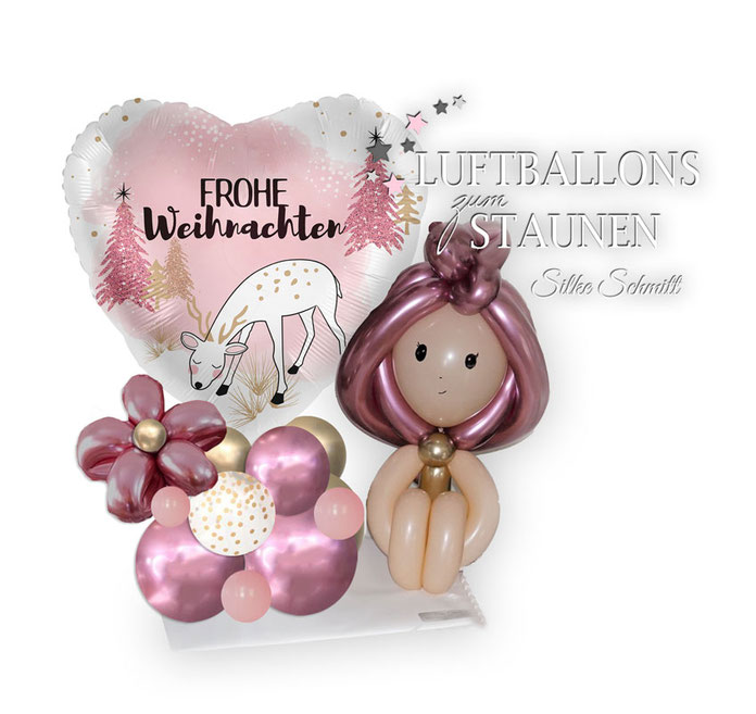 Ballon Luftballon rosa Frohe Weihnachten Elfe Blume Herz Rentier glitzer Weihnachtsbaum  Christbaum Arrangement Bouquet Geschenk Deko Dekoration Mädchen Prinzessin Mitbringsel Überraschung Konfetti Konfettiballon