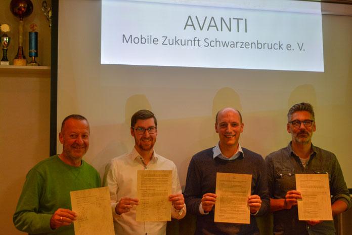 (von links nach rechts) 2. Vorsitzender Norbert Dambaur, Kassier Christoph Saddey, 1. Vorsitzender Mario Rubel, Schriftführer Achim Hofmann
