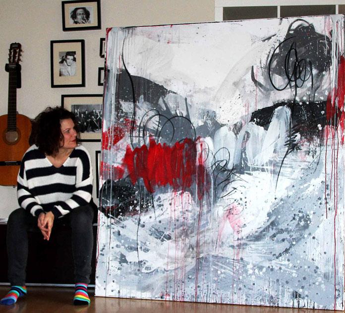 bild grau weiß rot abstrakt - verschiedene Lebenspunkte